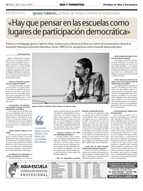 Hay que pensar las escuelas como lugares de participación democrática